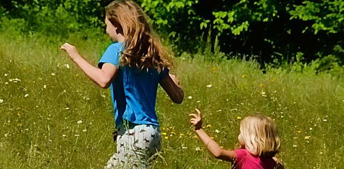 girls running pasture summer children